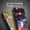 Casos para iphone 6 s plus ultra fino alívio pintura casos de silício suave para iphone 6 6 s 6 s plus 7 7 além de telefone celular de volta cobrir