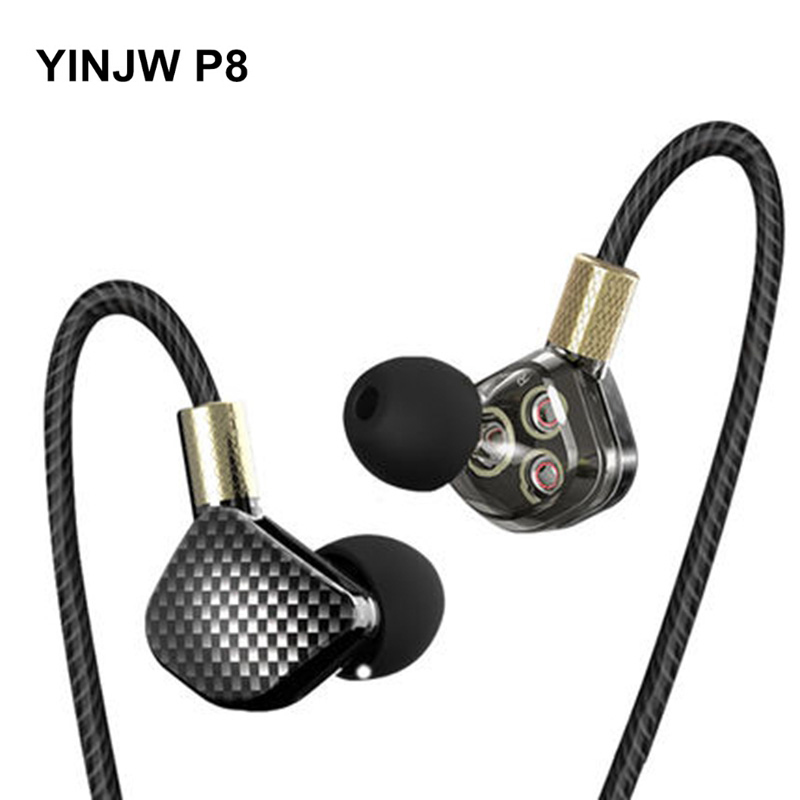 YINJW P8 3DB Three Dynamic Driver Speakers HIFI Bass Subwoofer In Ear Earphone Stereo Sports Earphone Monitor Earbuds Headset ak original memt x5s in ear earphone 3 5mm stereo in ear headset dynamic earbuds hifi bass earphone with mic