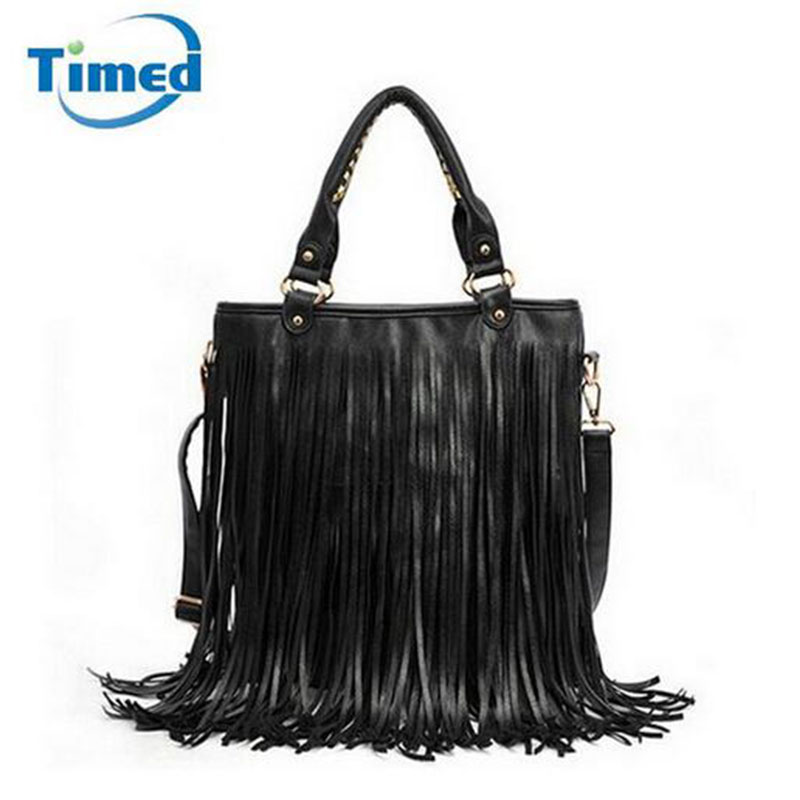 116a4b5ad Women Pu Leather Tassel Handbags 2018 New Fashion Messenger Bags Large  Capacity Shoulder Bag Ladies Vintage Bags Hot Sale