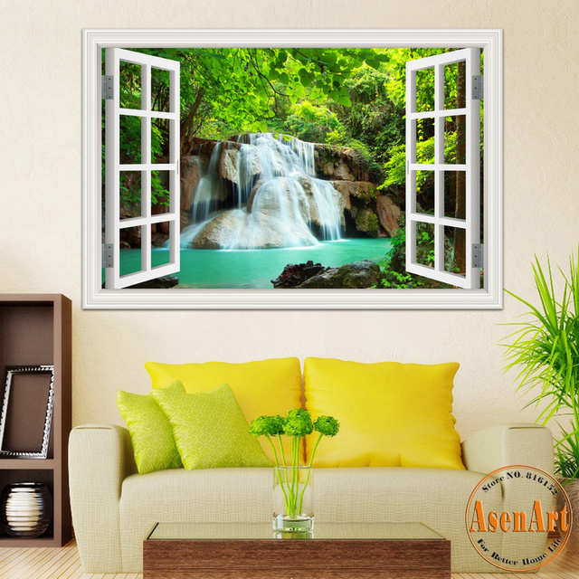 Buy 3d wall sticker home decal waterfall for Nature wallpaper designs for living room