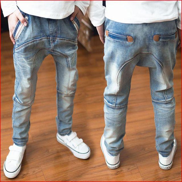 Подарки детям. детская одежда, мальчики денима шаровары весной и осенью дети джинсы, модный стиль Мальчики молнии джинсы