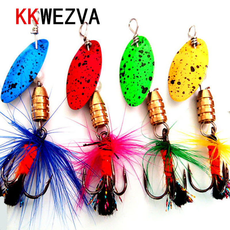 KKWEZVA 4PCS 5cm 2.4g Fiske Lure Metal Alloy Peche Hard Lure Med Sound Slice Wobbler Carp Fishing Tackle Spinner Gear Beit