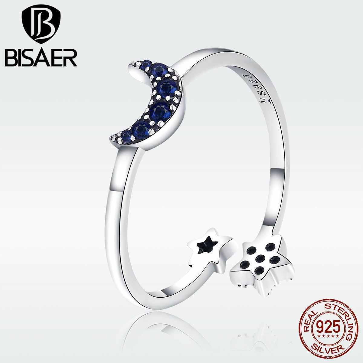 Bisaer 925 Bạc Cho Nữ, Nhẫn Nữ Ngôi Sao Và Mặt Trăng Đôi Phong Cách Kích Thước Mở Giá Rẻ Nhẫn Femme Trang Sức Thời Trang GXR437