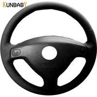KUNBABY Black Genuine Leather Car Steering Wheel Cover for Chevrolet Sail 2004 2009 Opel Astra G H 1998 2007 Old Opel Zafira