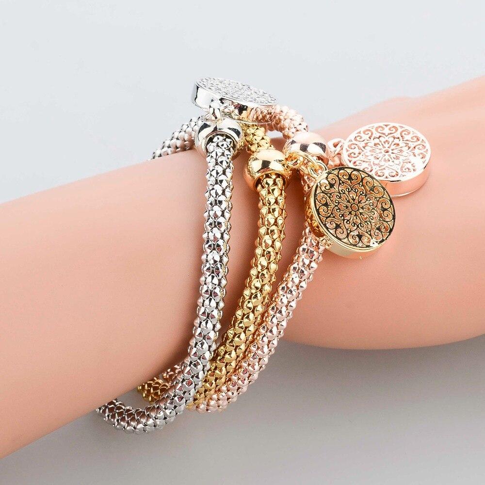 b1b25c54476 LongWay 2019 New Fashion Bracelets Bangles Jewelry Gold Color Chain Bracelet  Round Hollow Charm Bracelets For Women SBR140339-in Chain & Link Bracelets  from ...
