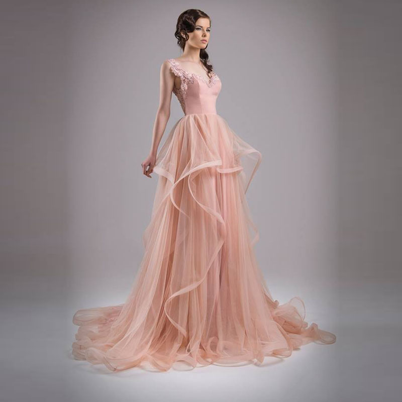 Bride Gowns 2015: Cheap Champagne Pink Boho Wedding Dress 2015 Hot Sale