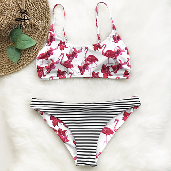CUPSHE Flamingo Free To Fly Print Bikini Set Women Low-waisted Thong Two Pieces Swimwear 2020 Reversible Bathing Suits Swimsuits 2