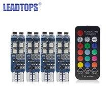 4pcs T10 W5W RGB LEDWith Control Car Clearance Lights LED 194 168 Bulb Remote Interior Dome Door License Plate Light CJ