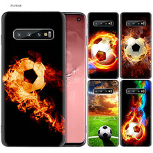 Fire Football Soccer Ball Black Silicone Case For Samsung Galaxy A6 A8 J4 J6 Plus A7 A9 J8 2018 Note 9 8 Mobile Phone Bag Cover(China)