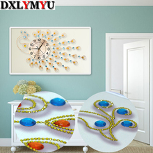 5D Diy diamond painting cross stitch kit round diamond embroidery mosaic with wall clock, handcraft decorative painting