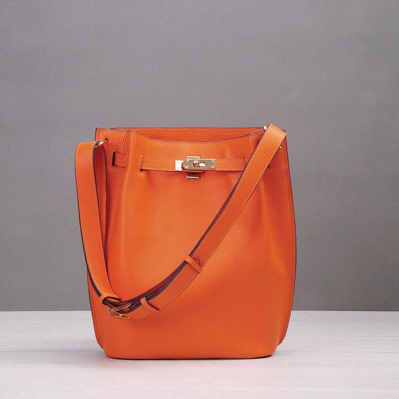 2018 Genuine Leather Big Bucket Bag Women Handbags Famous Brands Lock Design soft Cowhide Shoulder Crossbody Bags For Ladies