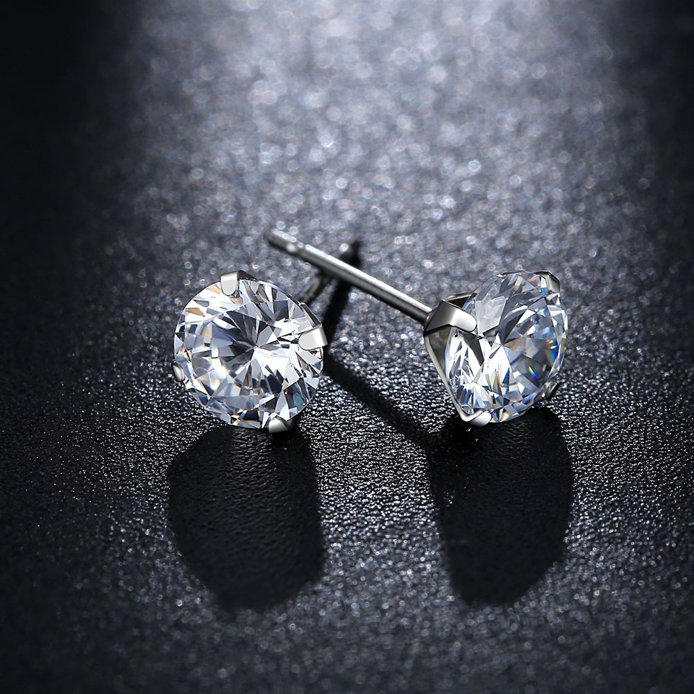 Ladies Jewelry Silver Earrings Inlaid With Zircon Crown Shape Earrings for Girls Holiday Gifts