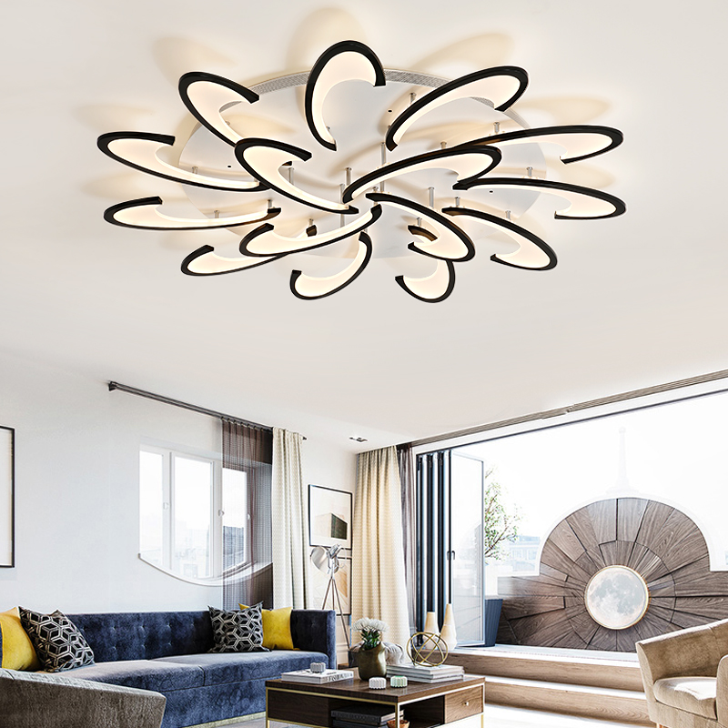 US $80.3 27% OFF|LICAN modern led ceiling chandelier lights for living room  bedroom Dining Study Room White/Black AC85 265V Chandeliers Fixtures-in ...