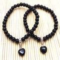 Pulsera de piedra de Ónix Negro 6mm carnelian Elástico nuevo Estilo pulsera de color agradable fishon joyería de la buena calidad del amor colgantes