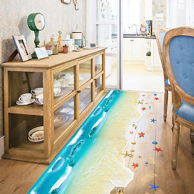 2017 Fashion New 3D Summer Scene Beach Floor Wall Sticker Removable Mural  Decals Vinyl Art Living