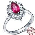 Water Drop Dark Red Zirconia Authentic 925 Sterling Silver real Rings Women Wedding Bridal Top Grade Jewelry Crystal Wholesale