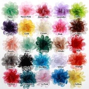 """Image 2 - Buquê boutique de flores de chiffon para cabelo, 20 peças, 5cm, 1.97 """", acessórios para cabeça de cabelo, tecido sem uso diy clipes clipes"""