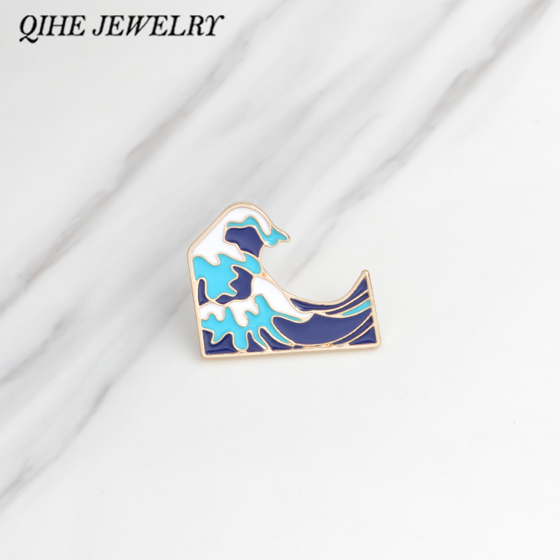 QIHE JEWELRY Brooches & pins Ocean wave brooch Men women clothing backpack bag accessories Ocean jewelry Wave jewelry