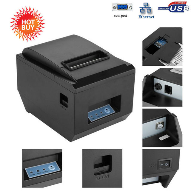Wired 80mm receipt printer with auto cutter support multi-language and QR code printing compatible with windows10 POS printer
