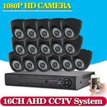 16CH AHD DVR 16*1080P Dome AHD CCTV Kits 2.0MP Black Security Cameras Super Night Vision Home Video Surveillance System NO HDD