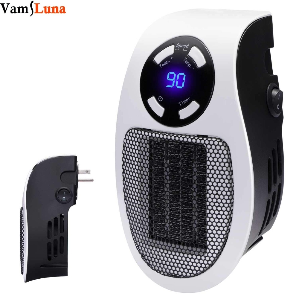 Handy Wall Space Heater - Plug-in Ceramic Mini Heater Portable With Adjustable Temperature, Timer And LED Display For Office