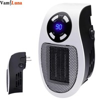 Handy Wall Space Heater Plug in Ceramic Mini Heater Portable with Adjustable Temperature, Timer and LED Display for Office