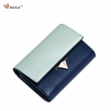 NUCELLE Brand New Design Fashion Contrast Color Lock Cow Leather Short Ladies Women Wallets Cards Holder For Girl