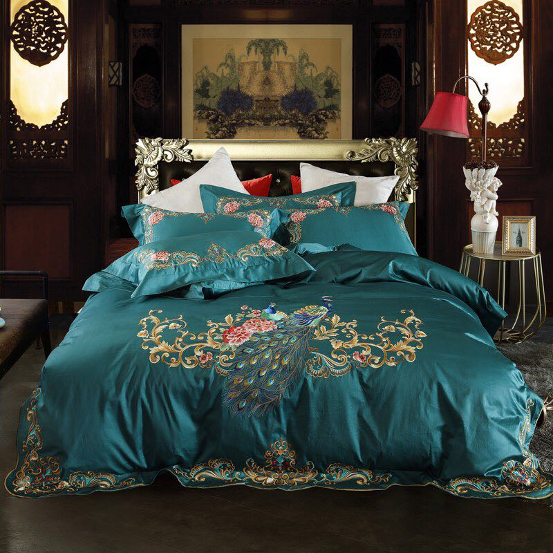 Green Red Luxury Peacock Embroidery 80S Egyptian cotton Wedding Bedding Set Duvet Cover Bed sheet Bed Linen Pillowcases 4pcs(China)