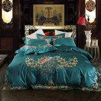 Green Red Luxury Peacock Embroidery 80S Egyptian cotton Wedding Bedding Set Duvet Cover Bed sheet Bed Linen Pillowcases 4pcs