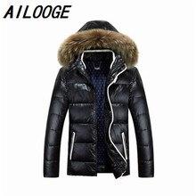 2016 Winter Jacket Men Duck Down Jacket Men Thick Hood Natural Pure Raccoon Fur Collar Parkas Windproof Coat Plus Size 3XL