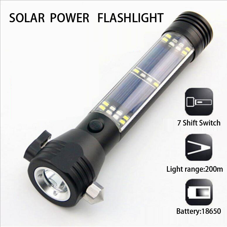 Multi-purpose Solar energr Strong Light flashlight,including Safety Hammer, compass,Saber ,by 18650 Free shipping