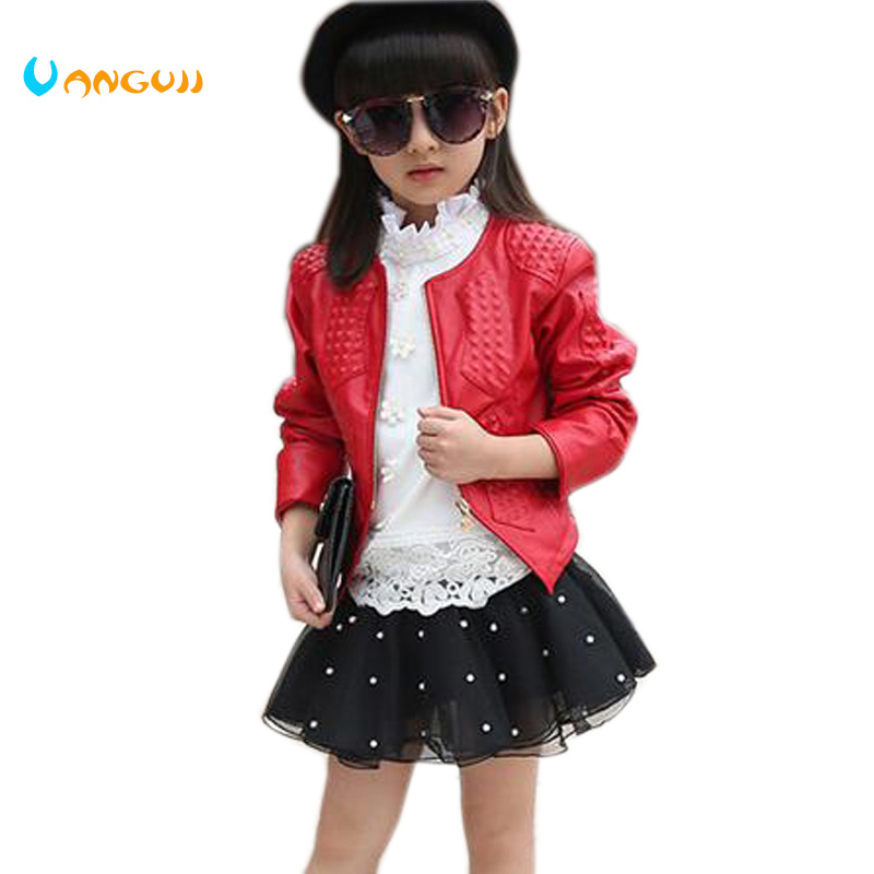 girls pu jacket spring autumn 2018 new Korean small - leather Embossing jacket in the child children PU leather coat 2 color pu leather and corduroy spliced zip up down jacket