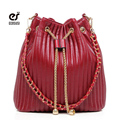 ecosusi Brand Women Leather Shoulder Bag New Fashion Bucket Bag Solid Bucket Chain Bag Crossbody Women Messenger Handbag