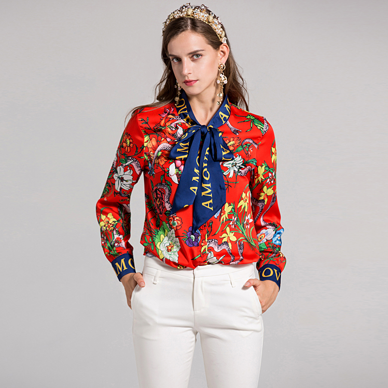 Milan Runway High Quality 2018 Spring New WomenS Party Office Work Print Flowers Shirt Fashion Long Sleeve Top Plus Size Blouse