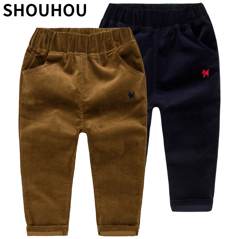 SHOUHOU Kids Corduroy Boys Pants Spring Autumn Animal Print Kids Trousers Casual Outwear Boys Trousers Children Clothing