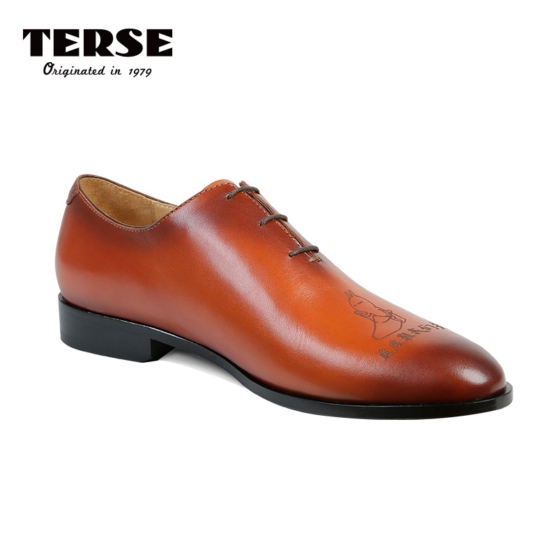 TERSE Luxury Band Men Shoes Handmade Genuine Leather Dress Shoes For Men Orange Color Custom logo Service Footwear Derby Shoe цена