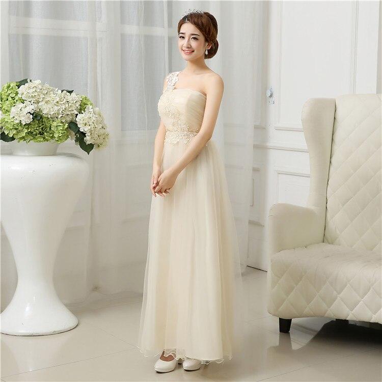 Fashion one shoulder flower applique formal long dresses for juniors ...