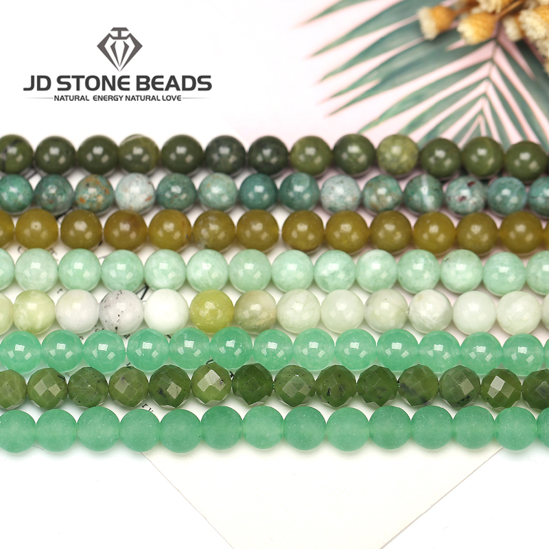 Natural Green Jade Nephrite Beads Matte Green Chalcedony Gemstone Faceted Round 4 6 8 10 12mm Diy Charm Beads For Jewelry Making