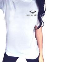 I Need My Space T Shirt Women Hipster Punk Rock Clothing Fashion Street Tumblr Graphic Tshirt