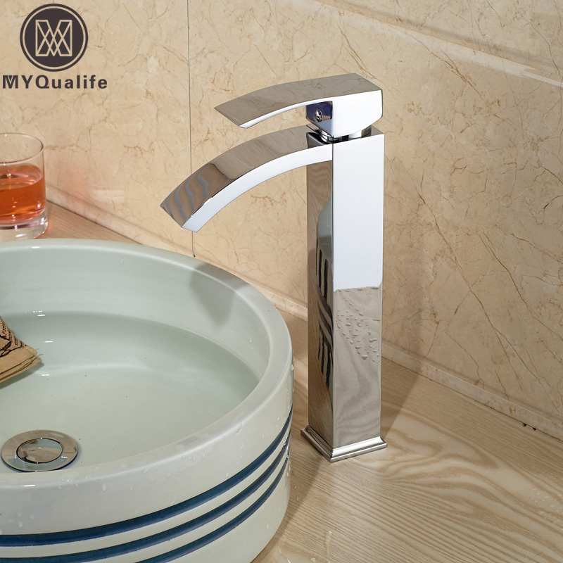 Chrome Basin Vessel Sinks Mixer Faucet Single Handle Countertop Waterfall Square Bathroom Washing Mixer Taps Deck