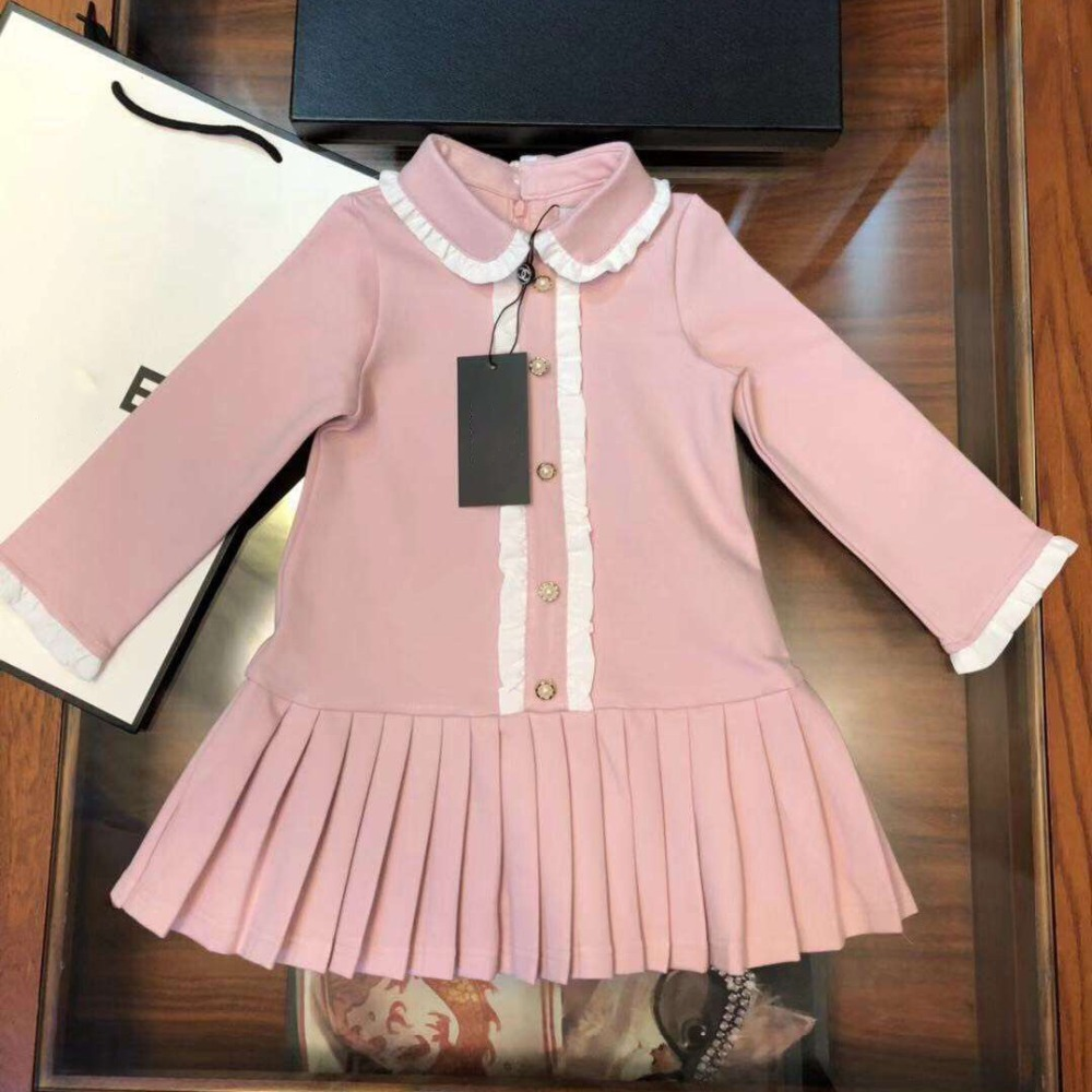 ca31cb8cbd 2019 Classic Brand designer style girl dress high quality Fashion Spring  cotton cute princess dresses for girls Petal Sleeve