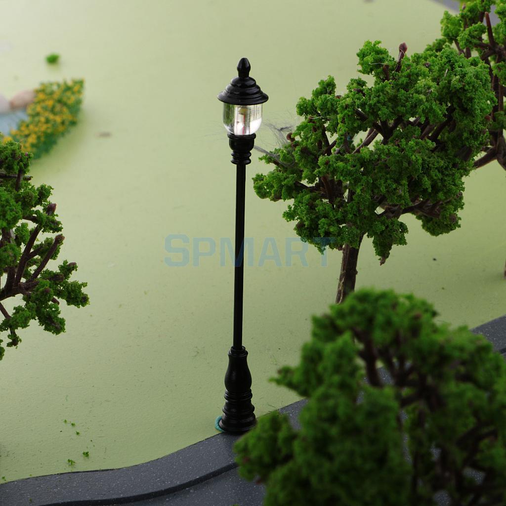 6 Pieces 1:72 HO OO Scale Model Railway Layout Single Head Lamppost Lights Street Garden Courtyard Lamp DIY Model Kits Kids Toys