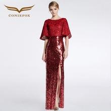 Coniefox 31626 de encaje rojo recta de dos piezas de manga larga de baile vestidos de noche de Las Señoras vestido de fiesta de Navidad vestido de robe de soiree