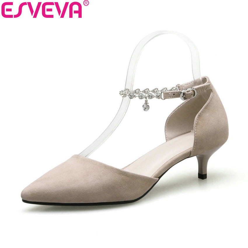 ESVEVA 2018 Women Pumps Buckle Strap Decoration Crystal Thin Med Heels Sexy Pointed Toe Two-piece Shoes for Women Size 34-41 shofoo 2017 new arrive women mature med heels pointed toe buckle strap pumps dress