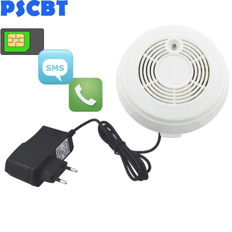 PSCBT SMS Smoke Sensor GSM Fire Alarm Sensor Smoke Detector GSM SIM Card Message Call Number Fire Detector