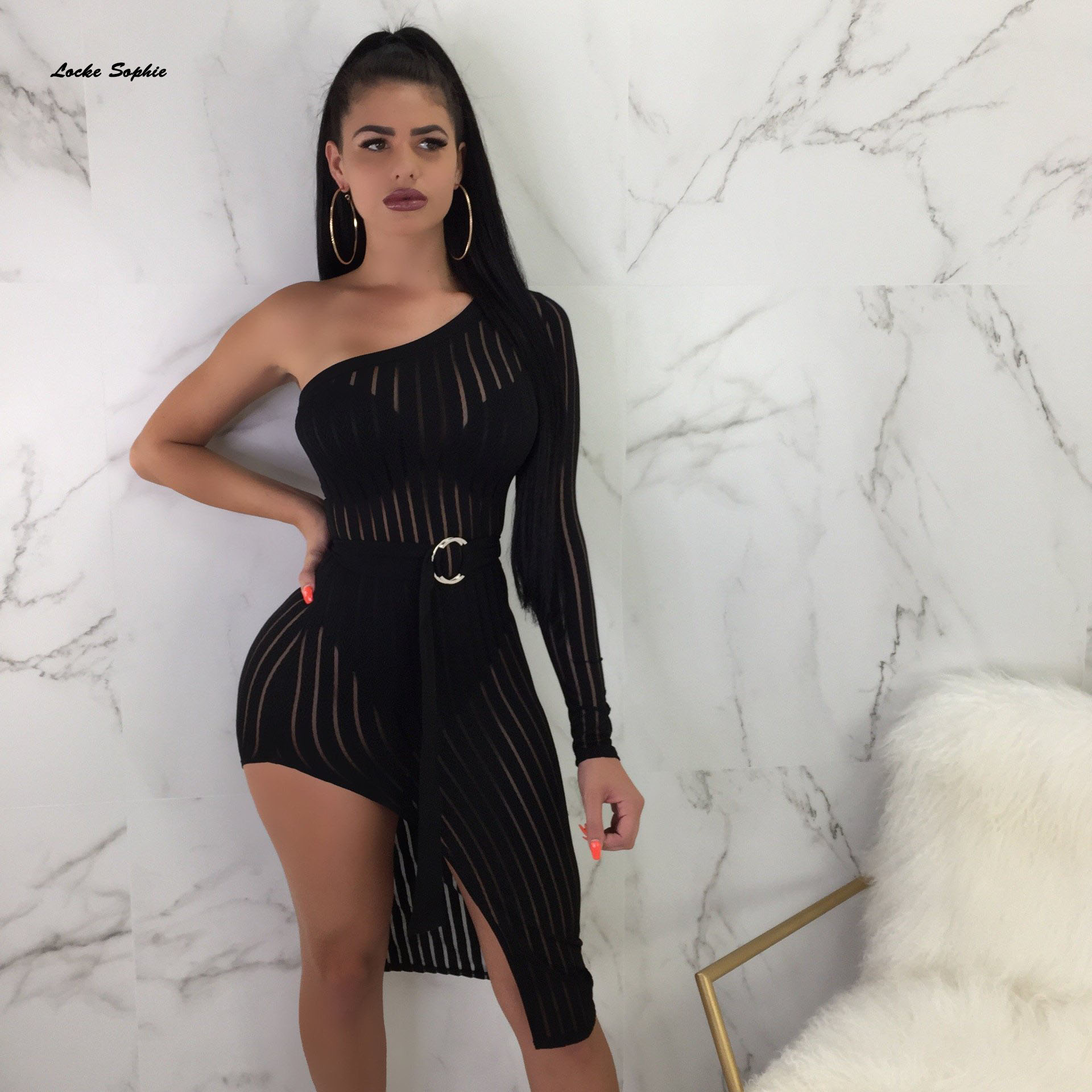 1pcs High waist Ladies Sexy dresses 2019 Autumn cotton blend Splicing belt Irregular Dress womens Skinny