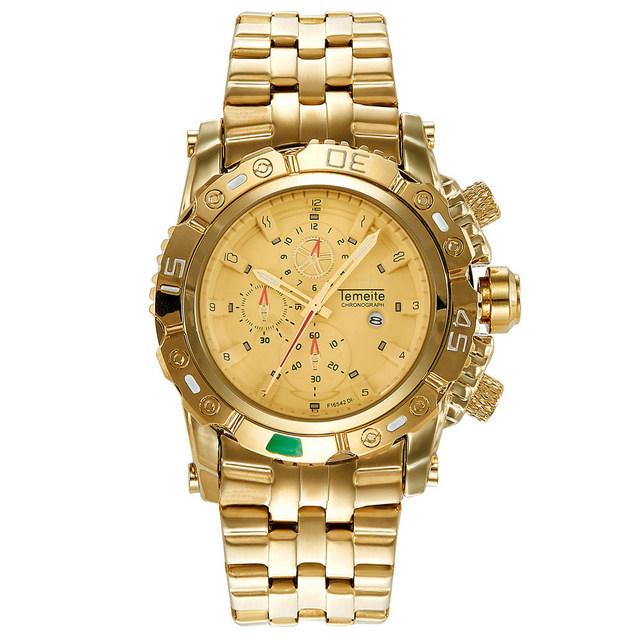 Golden Big Dial and Waterproof Wristwatch for Classic Men