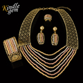 Alta Calidad Exquisita Dubai Chapado En Oro de La Joyería de Lujo Gran Boda Nigeriano Perlas Africanas de La Joyería Diseño de Vestuario