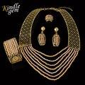 Alta Qualidade Exquisite Dubai Banhado A Ouro Conjunto de Jóias de Luxo Grande Casamento Nigeriano Beads Africanos Jóias Set Costume Design