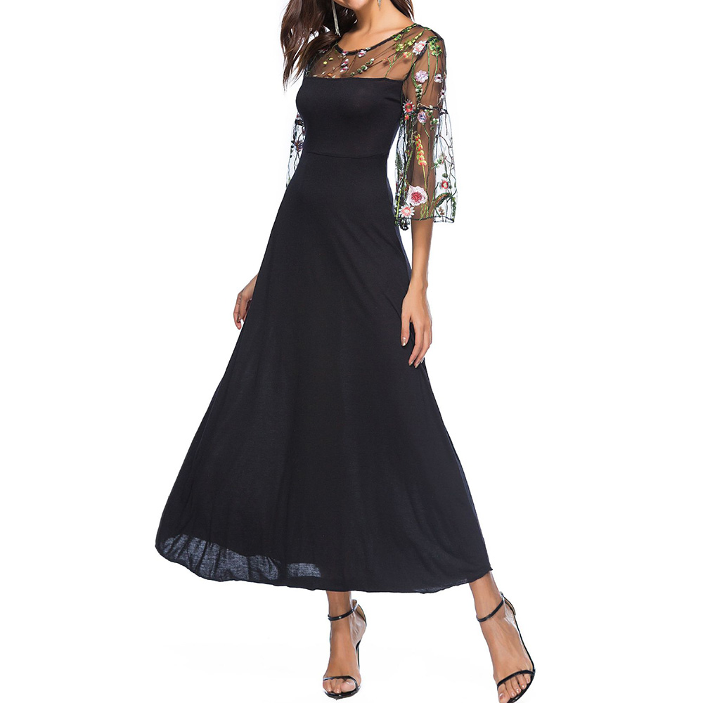 Summer Women 3/4 Sleeve Mesh Perspective Embroidery Floral Party Long Dress
